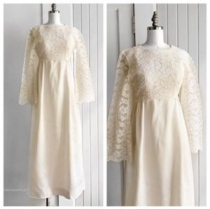 Vintage 1950s Lace Satin Ivory Wedding Dress